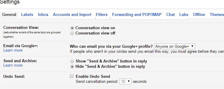 Google unsend button
