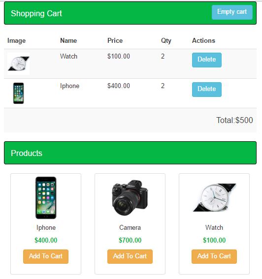 sample php shopping cart