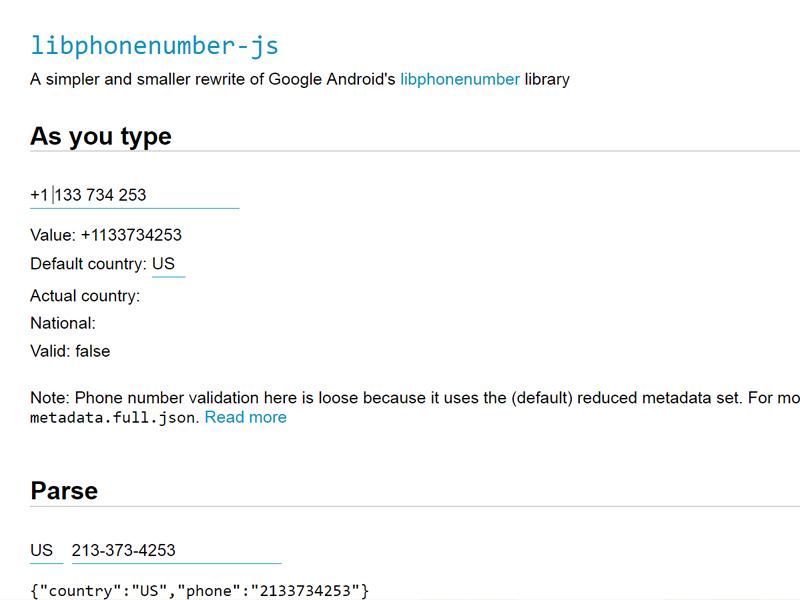Libphonenumber : Javascript Phone Number Parsing and Formatting